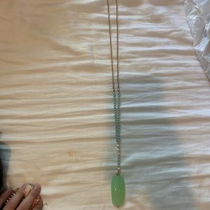 Long green and gold necklace